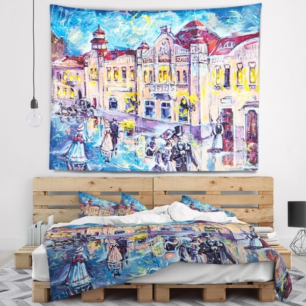 Designart 'City at Night with People' Cityscape Wall Tapestry