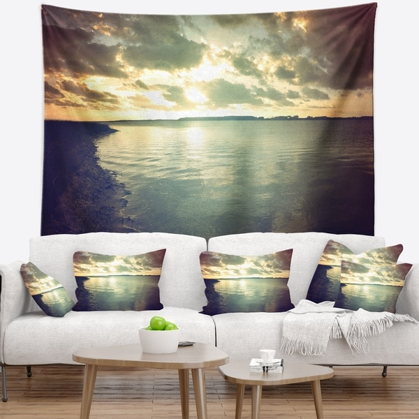 Designart 'Dark Seascape with Cloudy Sky' Seascape Wall Tapestry