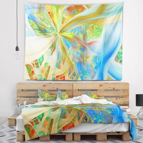 Designart 'Yellow Fractal Exotic Plant Stems' Abstract Wall Tapestry