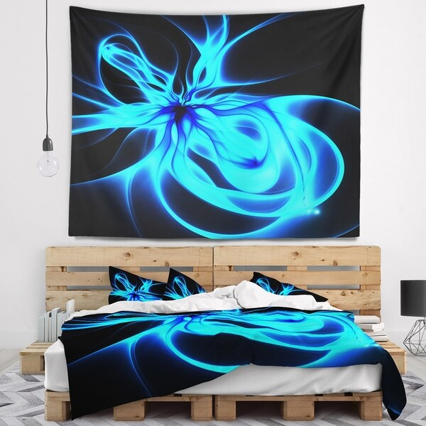 Designart 'Glowing Blue Symmetrical Flower' Abstract Wall Tapestry