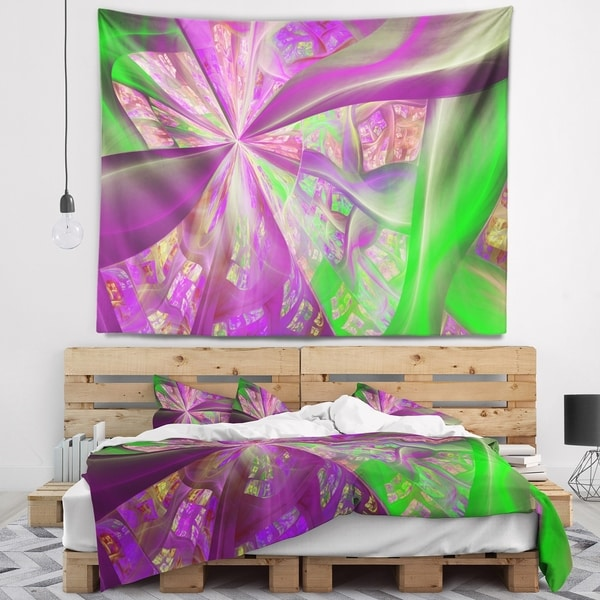 Designart 'Pink Green Fractal Curves' Abstract Wall Tapestry