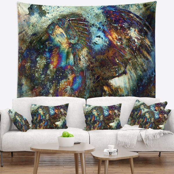 Designart 'Indian Woman Collage with Lion' Woman Wall Tapestry