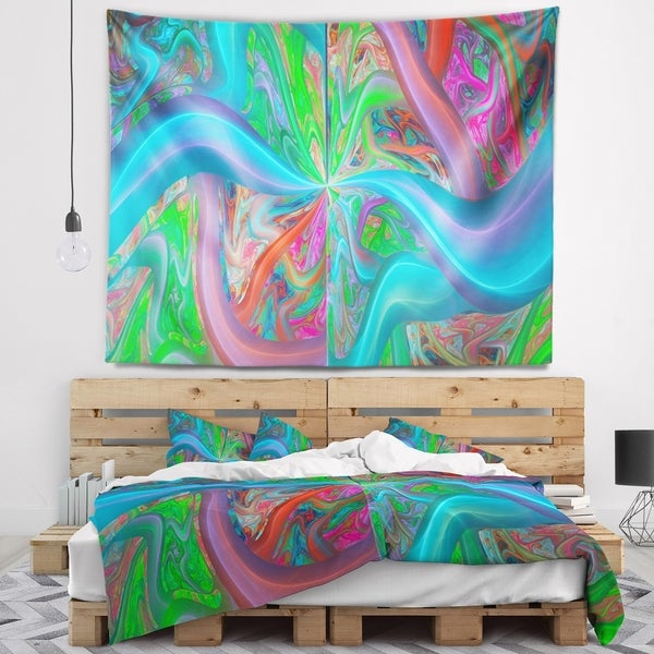 Designart 'Blue Green Fractal Curves' Abstract Wall Tapestry