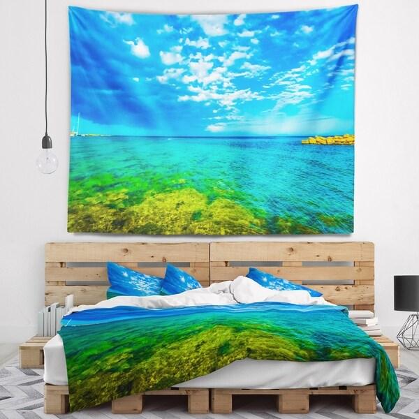 Designart 'Picturesque Green Blue Seashore' Modern Seascape Wall Tapestry