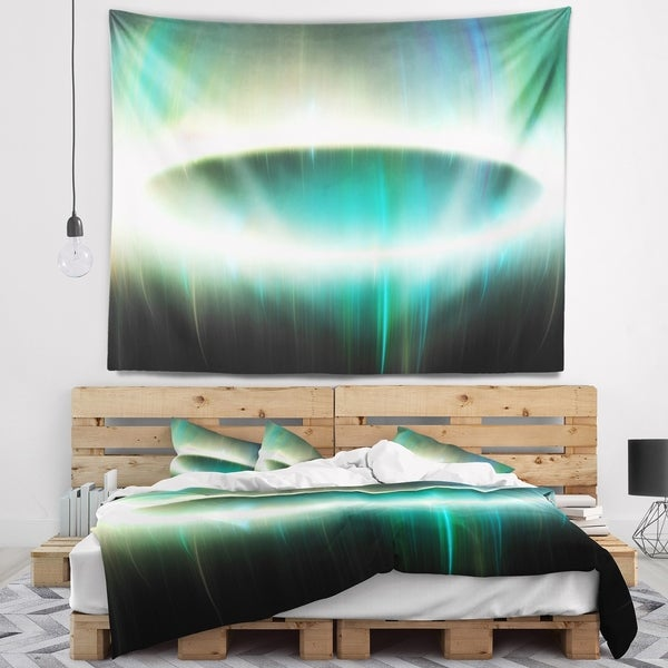 Designart 'Large Green Oval Fractal Light' Abstract Wall Tapestry