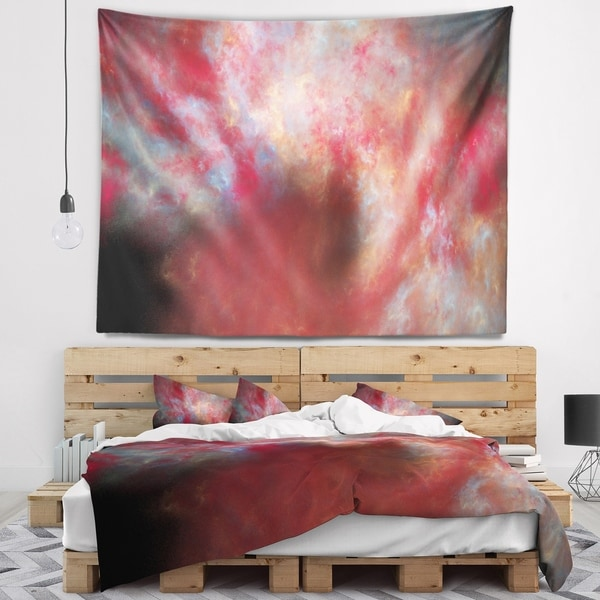 Designart 'Red Starry Fractal Sky' Abstract Wall Tapestry
