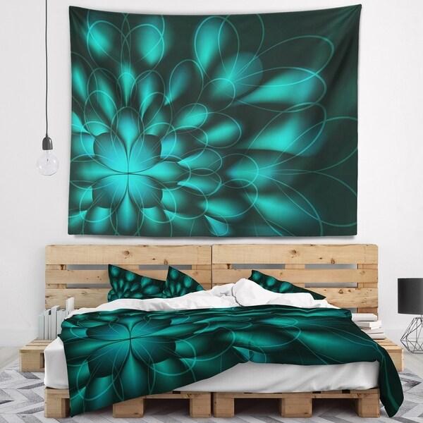 Designart 'Green Fractal Flower on Black' Abstract Wall Tapestry