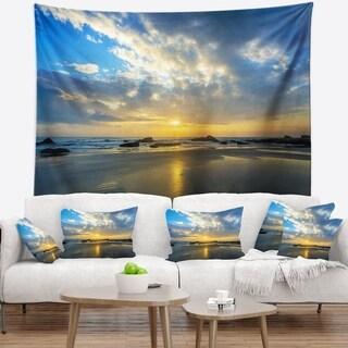 Designart 'Beautiful Sunrise and Seashore' Seashore Wall Tapestry