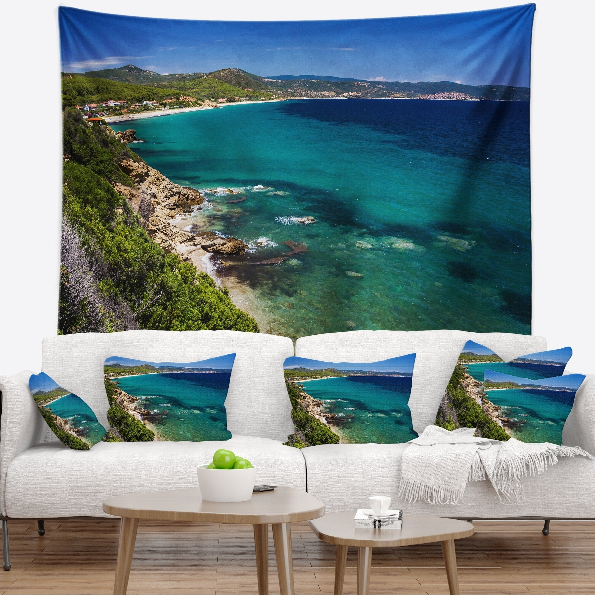 Designart Beautiful Greek Beach Of Sea Seashore Wall Tapestry Overstock 20920886