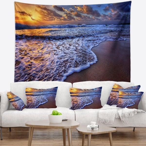 Designart 'Sunset over Blue Sea Waves' Seashore Wall Tapestry