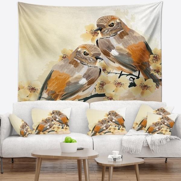 Designart 'Bird Couple on a Branch' Animal Wall Tapestry