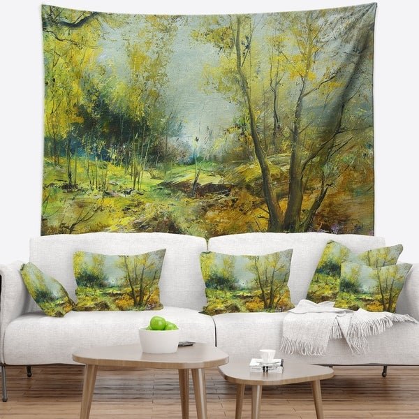 Designart 'Green Yellow Deep Forest' Landscape Wall Tapestry