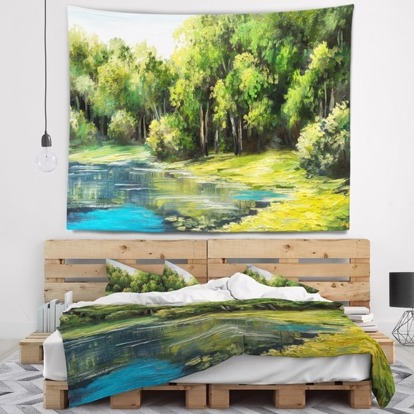 Designart 'Summer Day Lake in Forest' Landscape Wall Tapestry