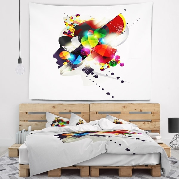 Designart 'Woman Abstract Profile' Abstract Wall Tapestry