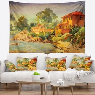 Designart 'French Riviera' Landscape Wall Tapestry