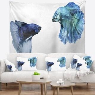 Designart 'Fighting Fish' Animal Wall Tapestry
