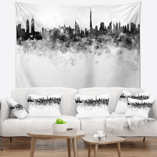 Designart 'Dubai Skyline' Cityscape Wall Tapestry