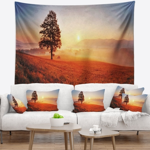 Designart 'Tree and Sun' Landscape Photography Wall Tapestry