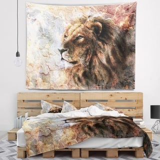 Designart 'Peaceful Lion' Animal Wall Tapestry