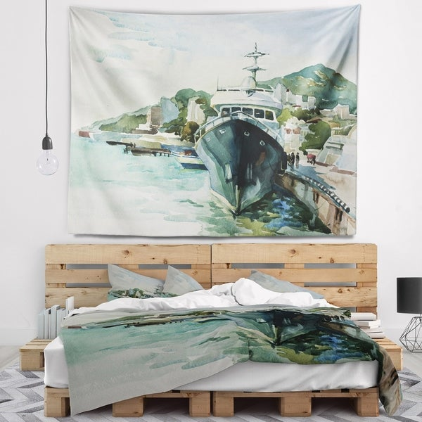 Designart 'Yacht in Port Yalta' Landscape Wall Tapestry