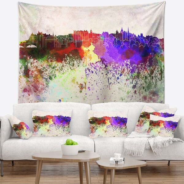 Designart 'Edinburgh Skyline' Cityscape Wall Tapestry