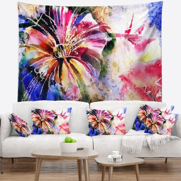 Designart 'Flowers in a Collage' Floral Wall Tapestry
