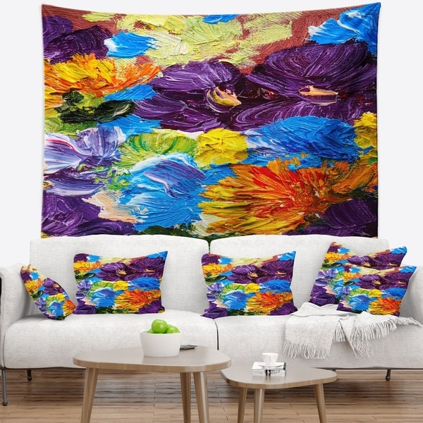 Designart 'Heavily Textured Abstract Flowers' Abstract Wall Tapestry