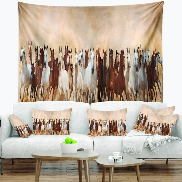 Designart 'Horses Herd in Sand Storm' Landscape Photography Wall Tapestry