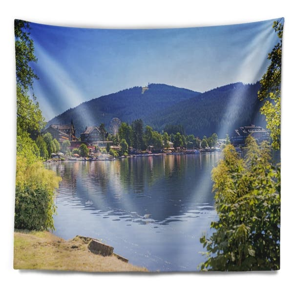 Designart Lake Titisee Black Forest Germany Photography Wall Tapestry On Sale Overstock 20921167