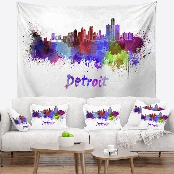 Designart 'Detroit Skyline' Cityscape Wall Tapestry
