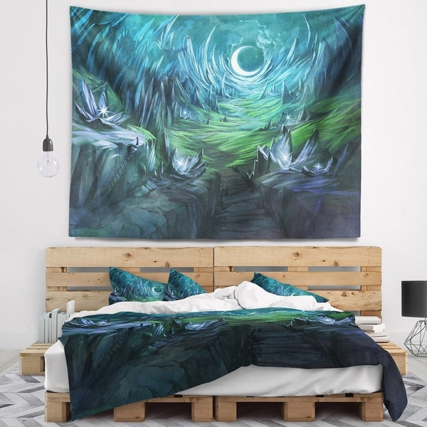 Designart 'Twilight Valley Landscape' Abstract Wall Tapestry