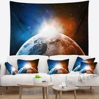 Designart 'Planet with Sunrise in Space' Contemporary Wall Tapestry