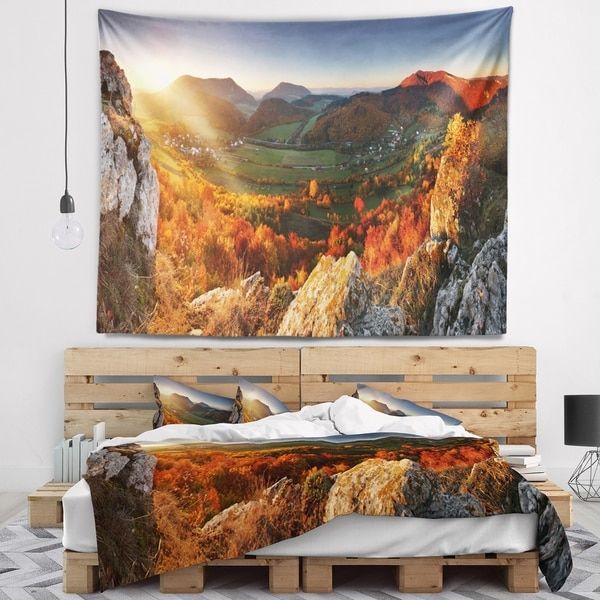 Designart 'Autumn Mountains Panorama' Photography Wall Tapestry
