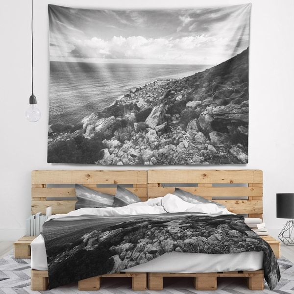 Designart 'Sunrise over Sicily Black and White' Beach Photo Wall Tapestry