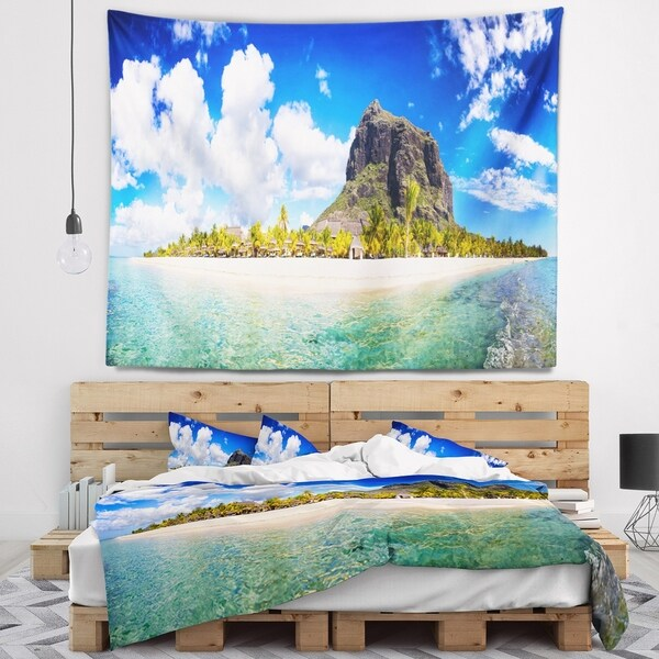 Designart 'Mauritius Beach Panorama' Photography Wall Tapestry