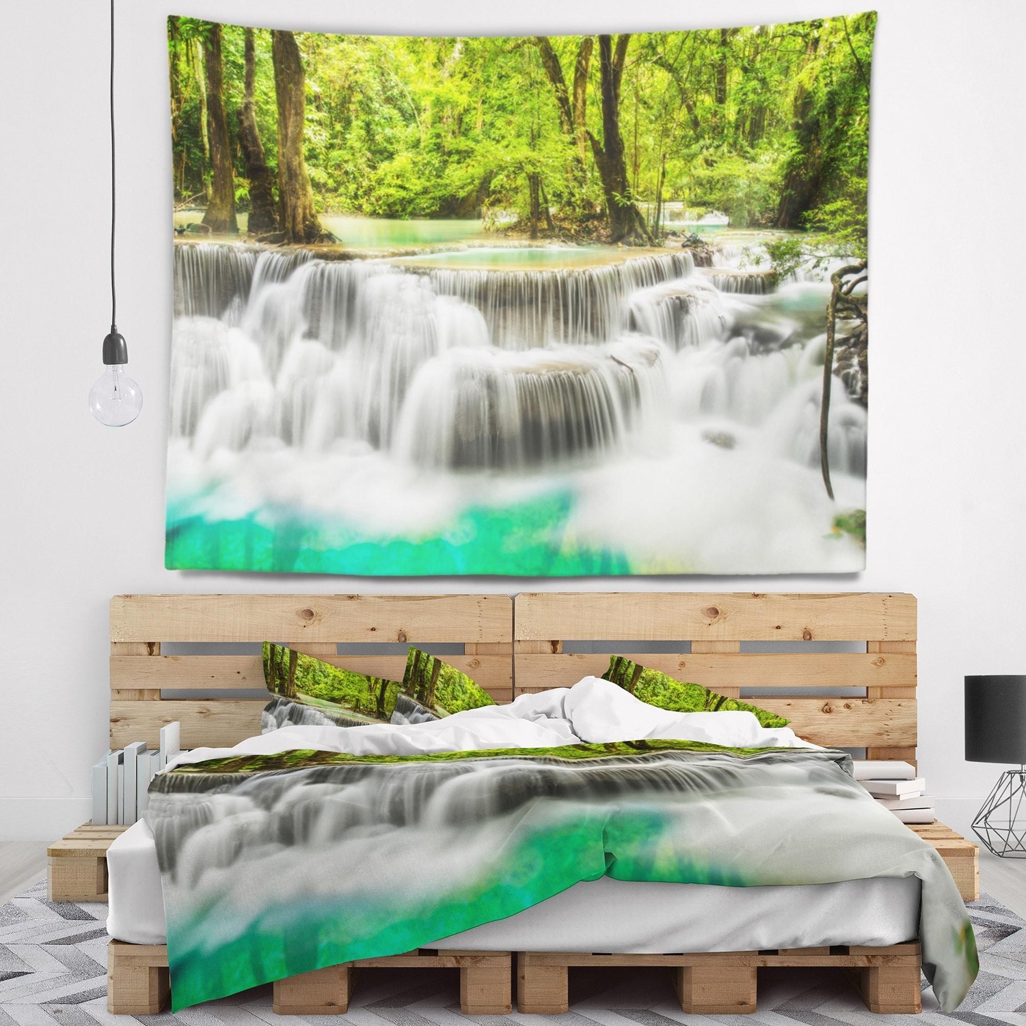 Designart Panoramic Erawan Waterfall Landscape Photography Wall Tapestry Overstock 20921236