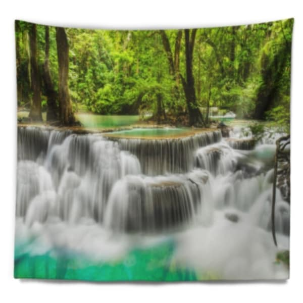 Large X 50 In 60 In Designart Tap7137 60 50 Panoramic Erawan Waterfall Landscape Photography Tapestry Blanket Décor Wall Art For Home And Office Tapestries Home Kitchen