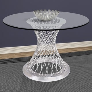 Armen Living Calypso Contemporary Dining Table in Brushed Stainless Steel with Clear Tempered Glass Top - Silver - N/A