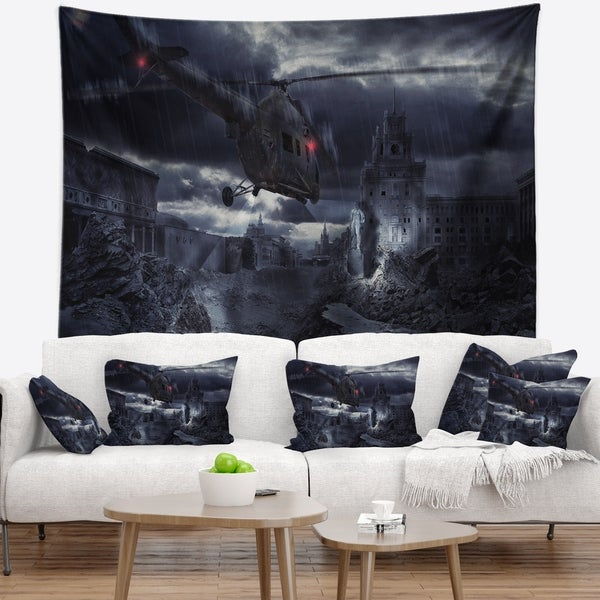 Designart 'Helicopter over Storm Ruined City' Photography Wall Tapestry