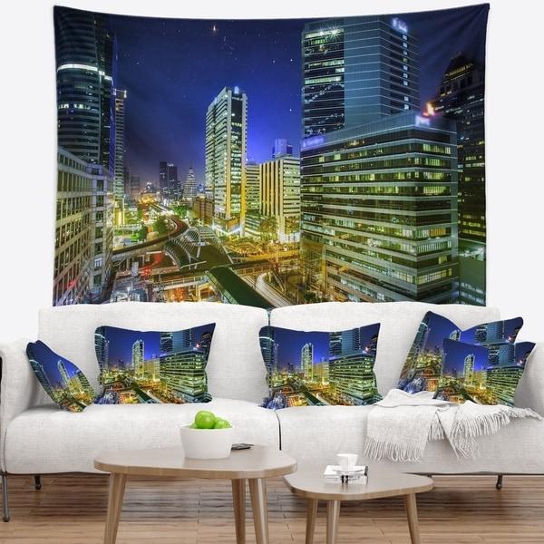 Designart 'Bangkok City Night View Cityscape' Photography Wall Tapestry