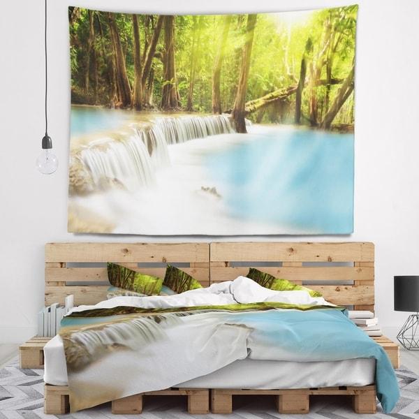 Designart 'Waterfall of Huai Mae Kamin' Landscape Wall Tapestry