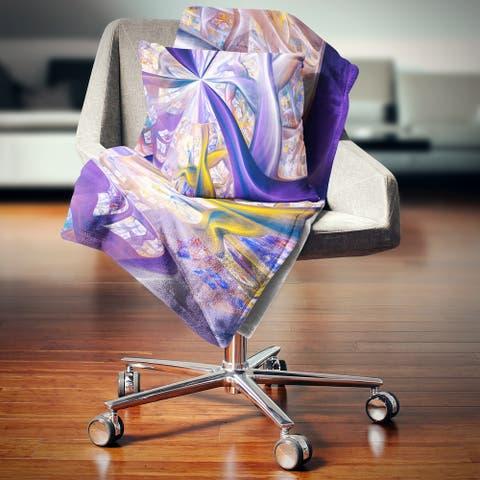 Designart 'Purple Gold Fractal Plant Stems' Abstract Throw Blanket