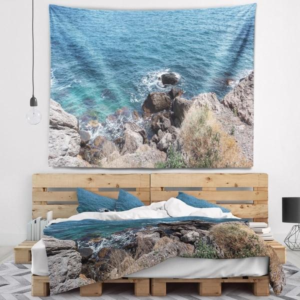 Designart 'Blue Waters at Crimean Peninsula Beach' Seashore Wall Tapestry