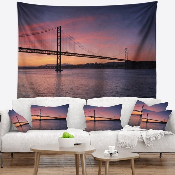 Designart 'Wonderful View of Lisbon Bridge' Pier Seascape Wall Tapestry