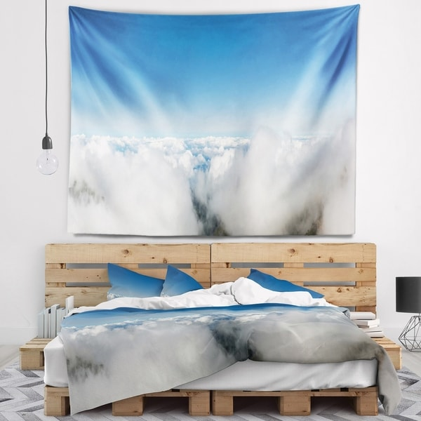 Designart 'Bright Blue Sky above Clouds' Contemporary Landscape Wall Tapestry