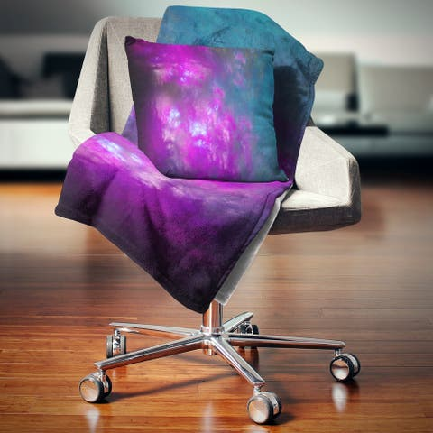 Designart 'Purple Blue Starry Fractal Sky' Abstract Throw Blanket
