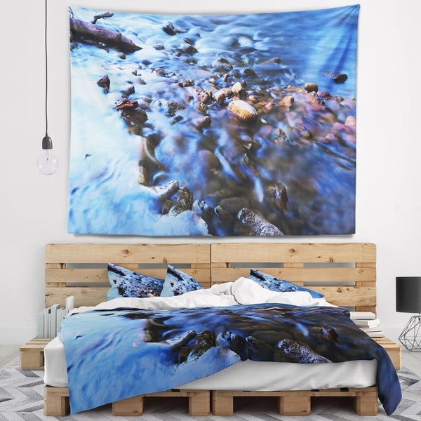 Designart 'Rock Blue River Panorama' Oversized Beach Wall Tapestry