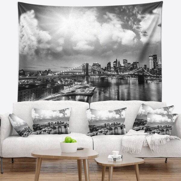 Designart 'Amazing Night in New York City' Cityscape Photo Wall Tapestry