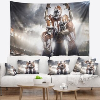 Designart 'American Football Players on Stadium' Sport Wall Tapestry