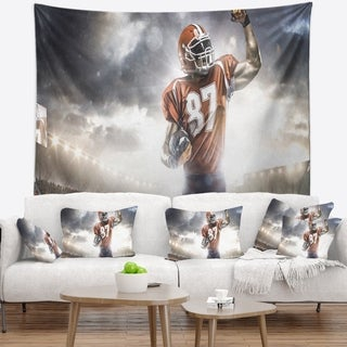 Designart 'American Footballer on Stadium' Sport Wall Tapestry